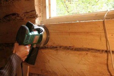 Как отшлифовать брус внутри дома?